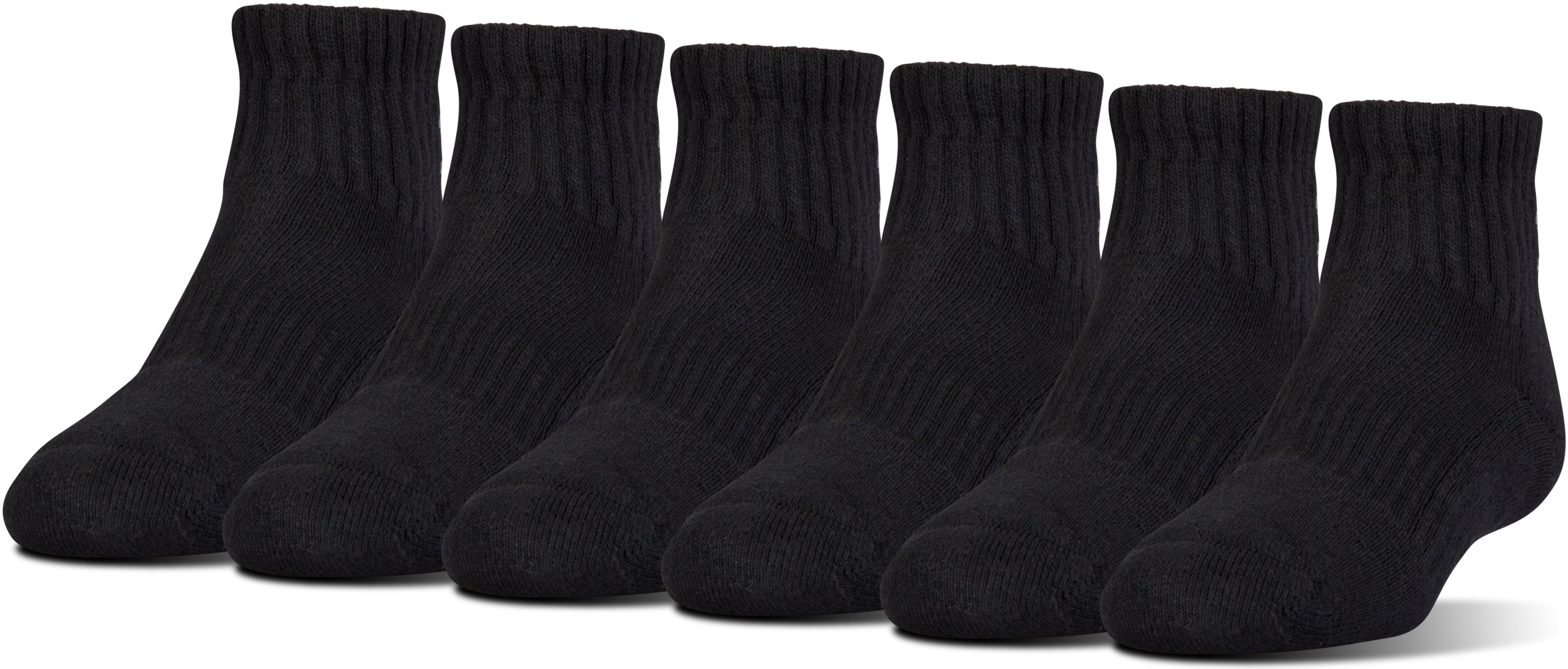 Kids' UA Charged Cotton® 2.0 Quarter Socks – 6-Pack, Black