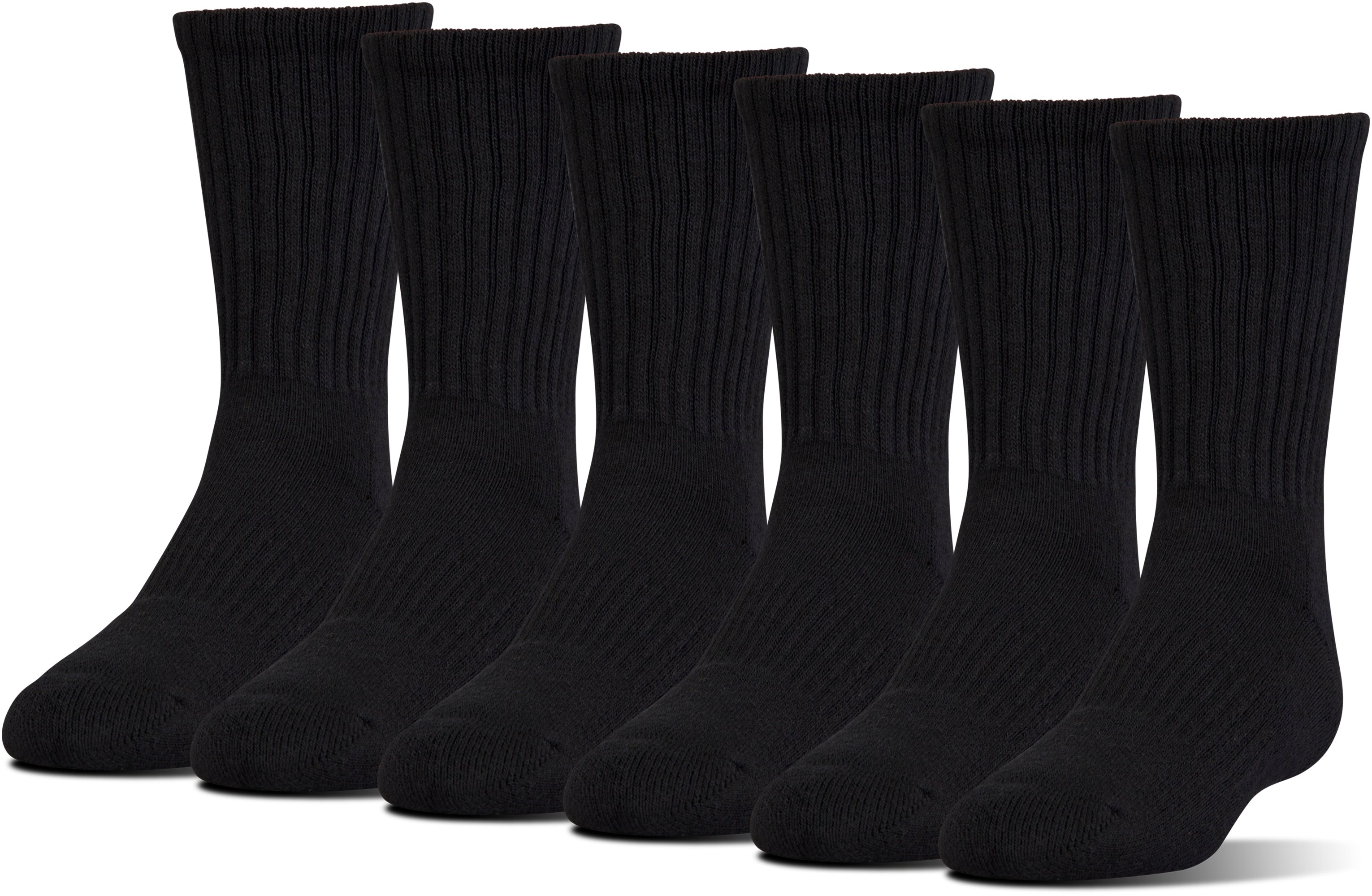 UA Charged Cotton® 2.0 Crew Socks – 6-Pack, Black , undefined