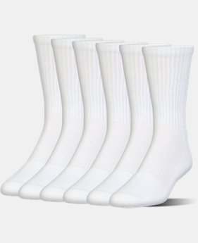 Best Seller UA Charged Cotton® 2.0 Crew Socks – 6-Pack  2 Colors $19.99