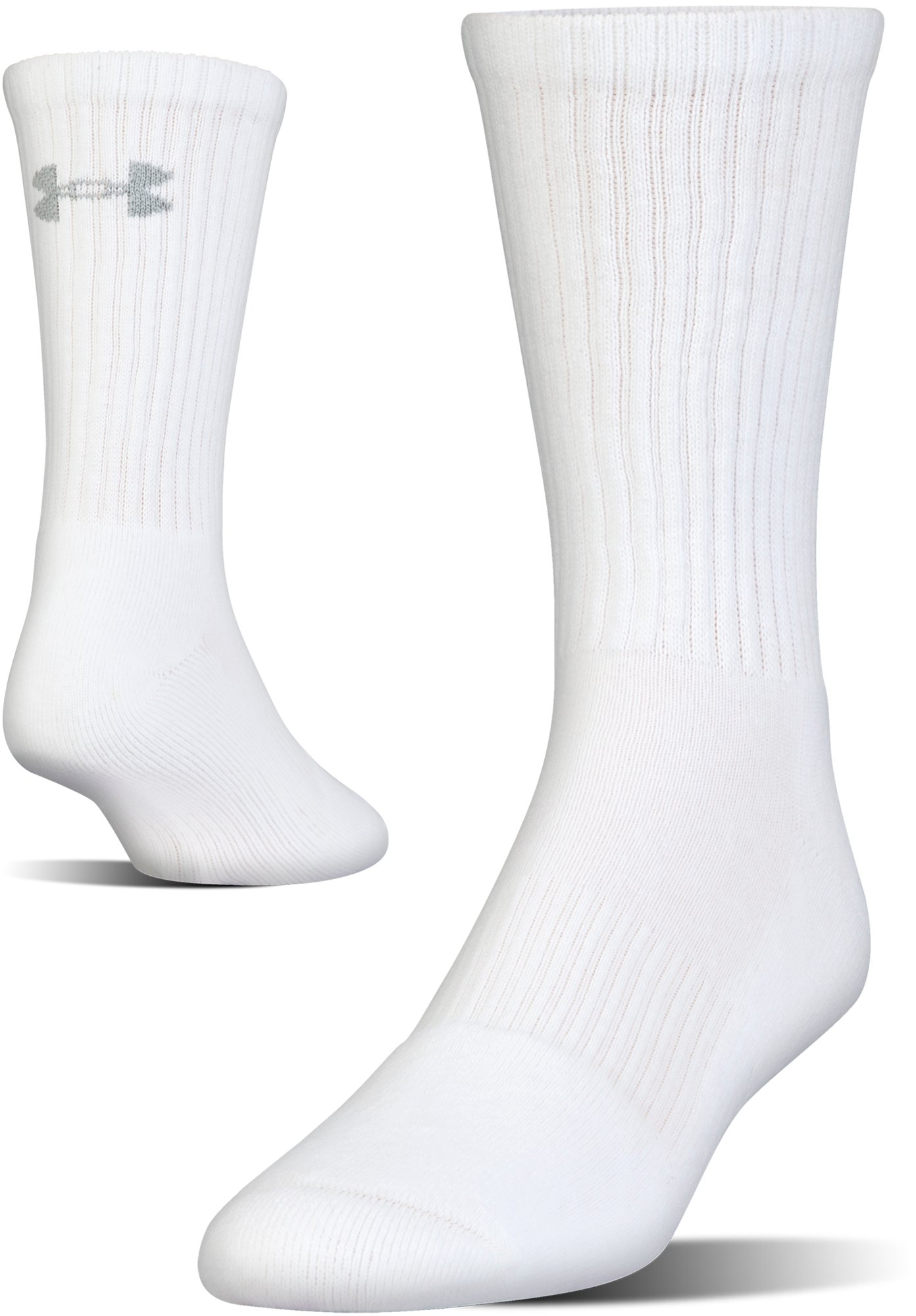 UA Charged Cotton® 2.0 Crew Socks – 6-Pack, White, undefined