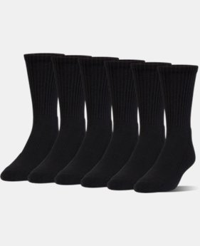Kids' UA Charged Cotton 2.0 Crew Socks – 6-Pack  2 Colors $19