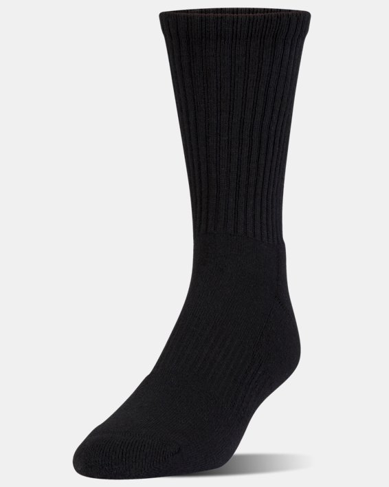 Kids' UA Charged Cotton 2.0 Crew Socks - 6-Pack, Black, pdpMainDesktop image number 1