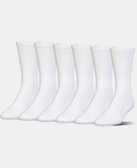 Kids' UA Charged Cotton 2.0 Crew Socks – 6-Pack  2 Colors $21.99