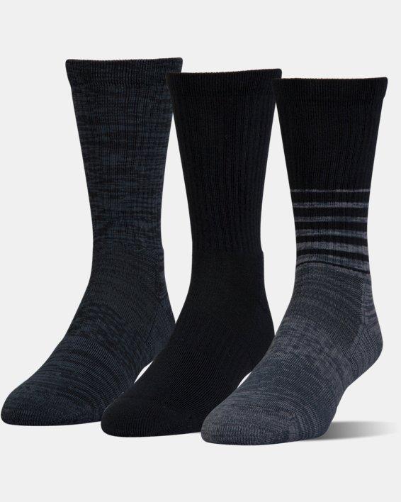 UA Phenom Twisted Crew Socks - 3-Pack, Black, pdpMainDesktop image number 0