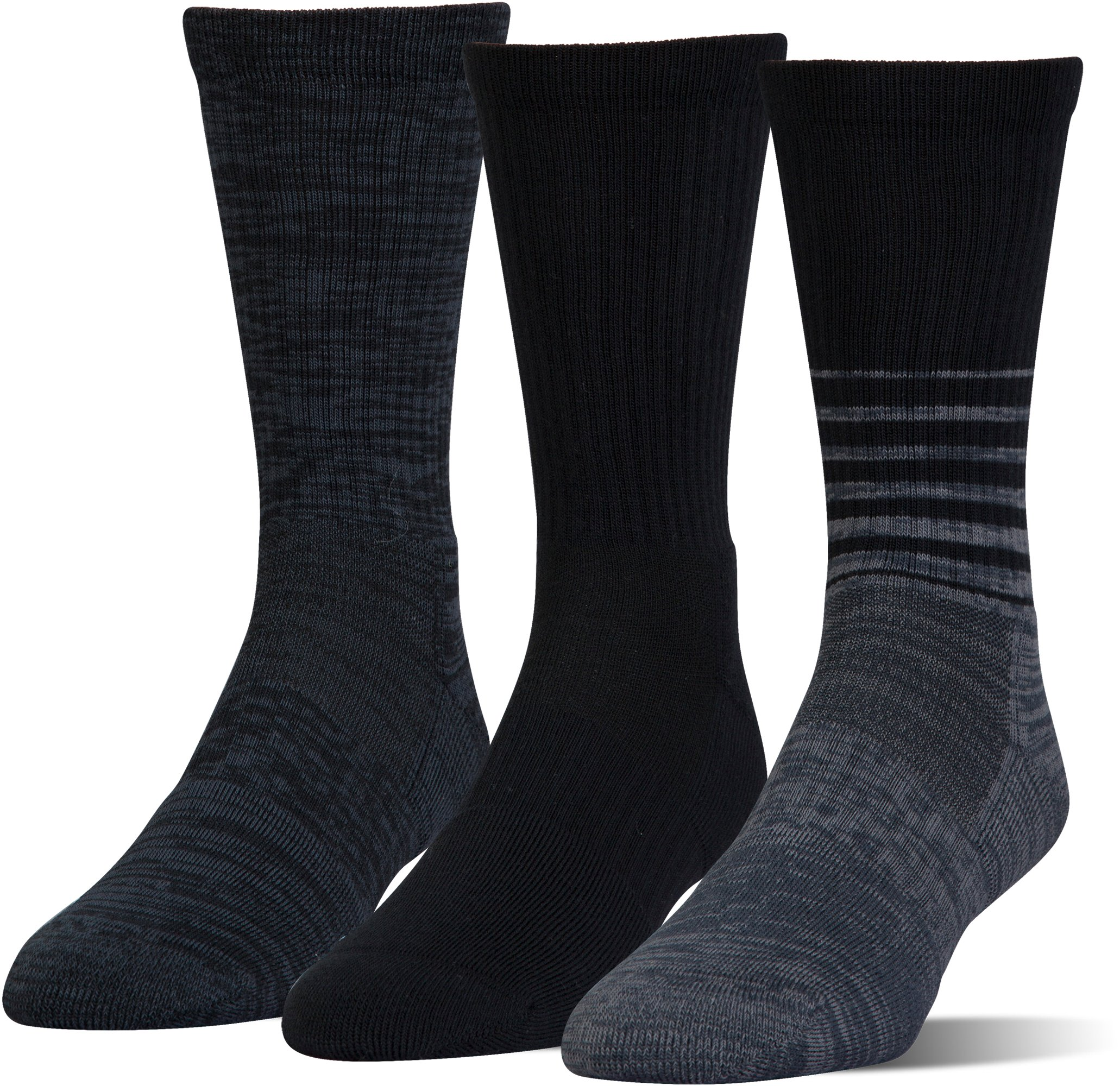 UA Phenom Twisted Crew Socks – 3-Pack, Black ,