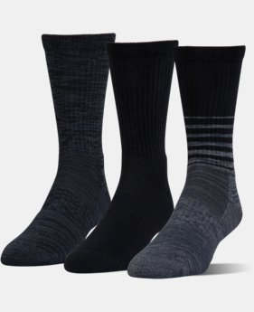 UA Phenom Twisted Crew Socks – 3-Pack  4 Colors $20