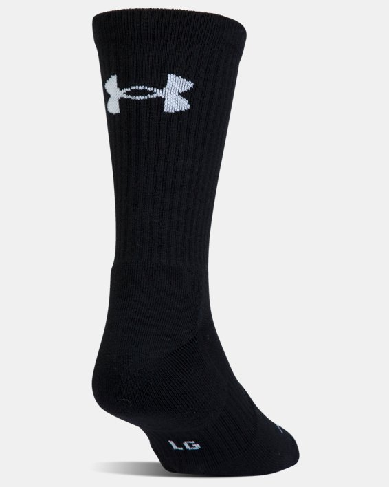 UA Phenom Twisted Crew Socks - 3-Pack, Black, pdpMainDesktop image number 7