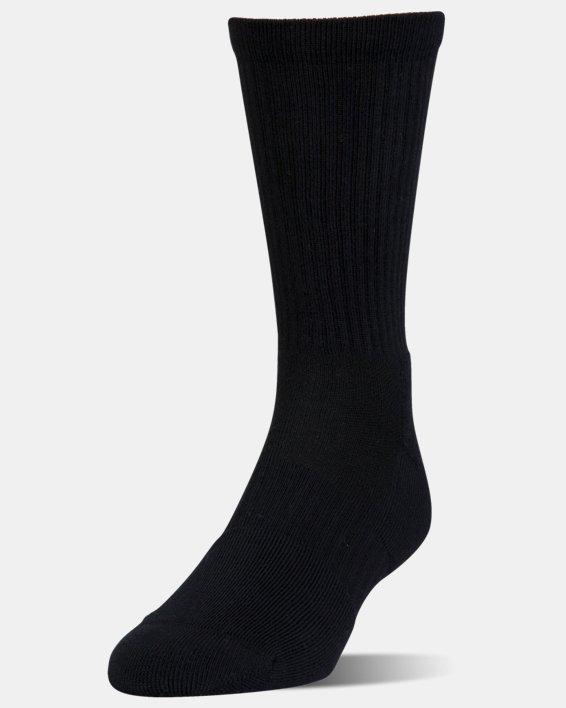 UA Phenom Twisted Crew Socks - 3-Pack, Black, pdpMainDesktop image number 1