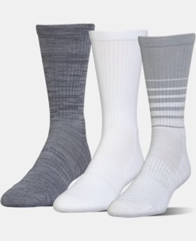 UA Phenom Twisted Crew Socks – 3-Pack  3 Colors $20