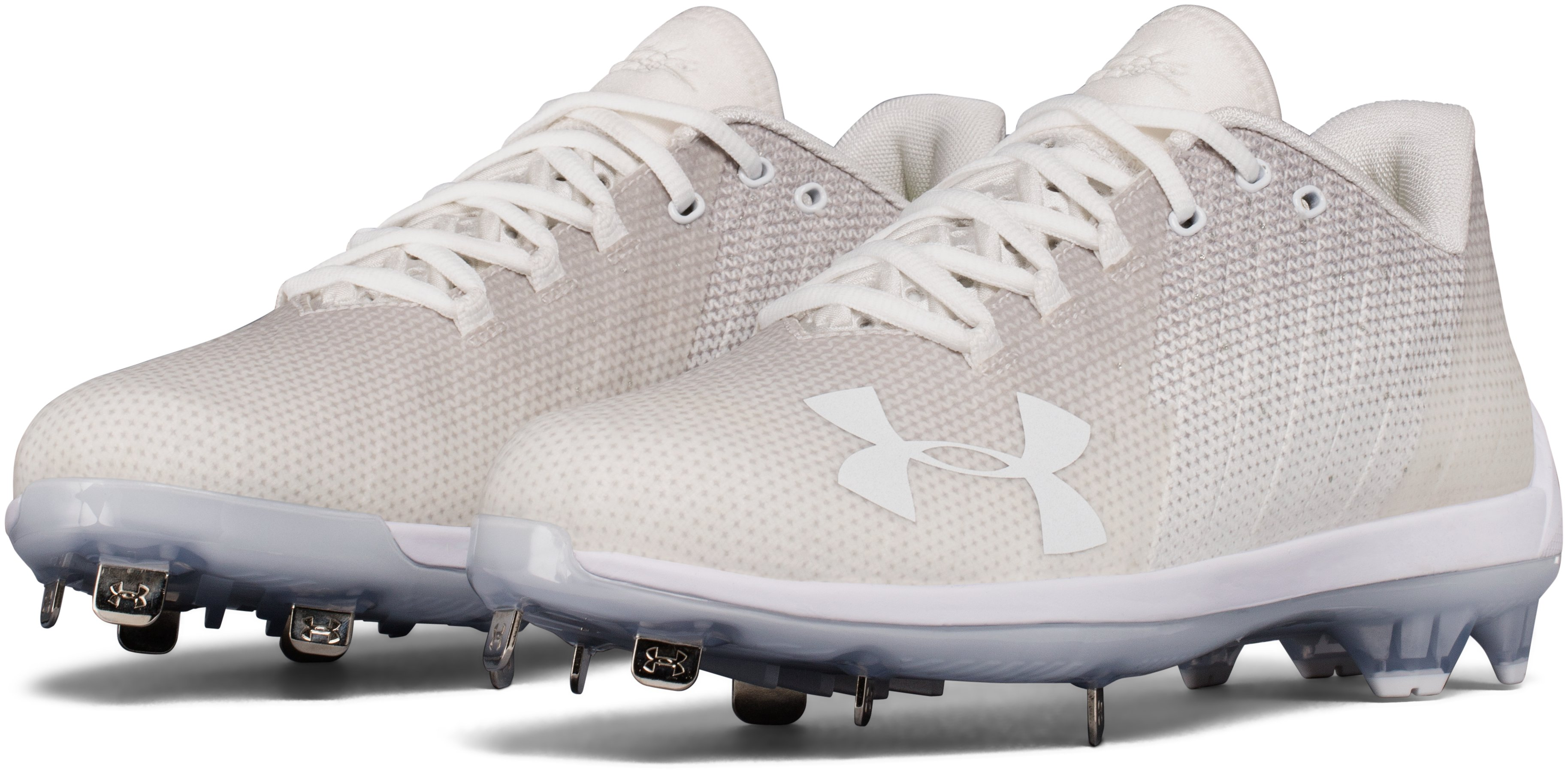 Men's UA Harper 2 Low ST Baseball Cleats, White,