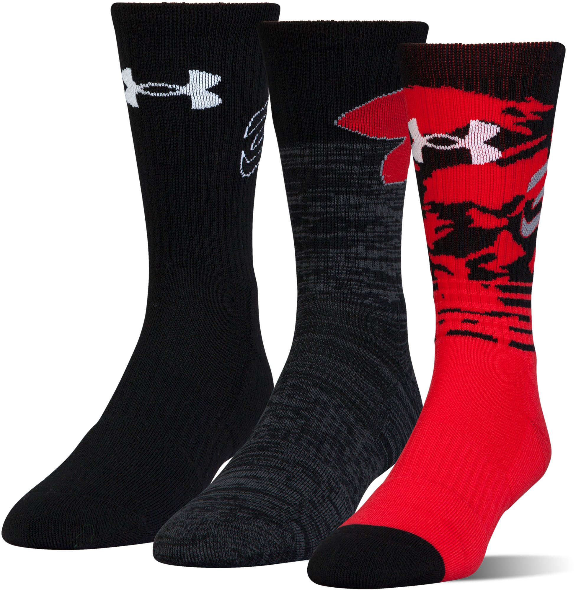 Boys' SC30 Phenom Crew Socks – 3-Pack, Red, undefined