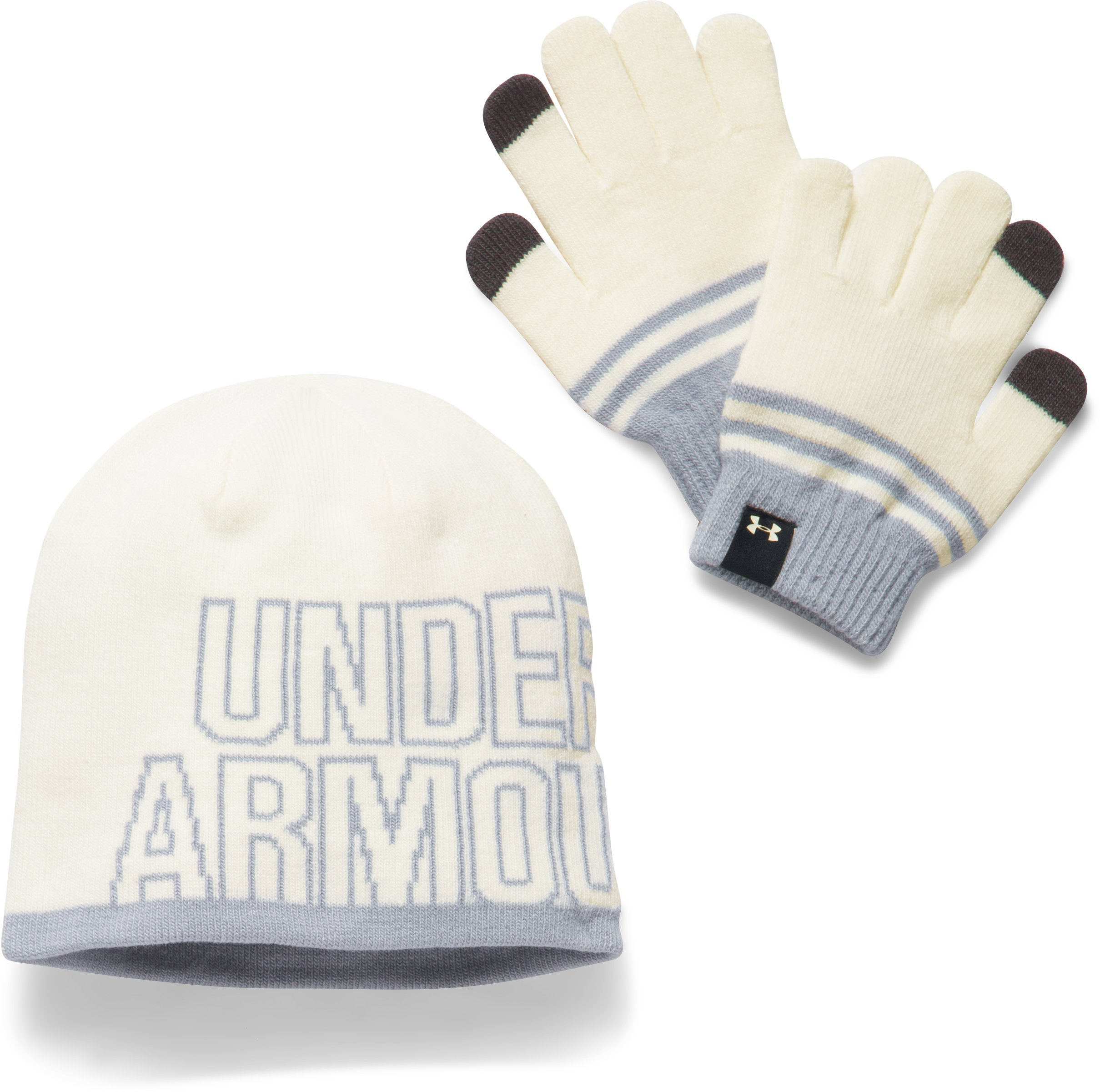 Girls' UA Beanie & Glove Combo Pack, Ivory, undefined