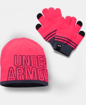 Girls' UA Beanie & Glove Combo Pack LIMITED TIME OFFER 1 Color $24.49