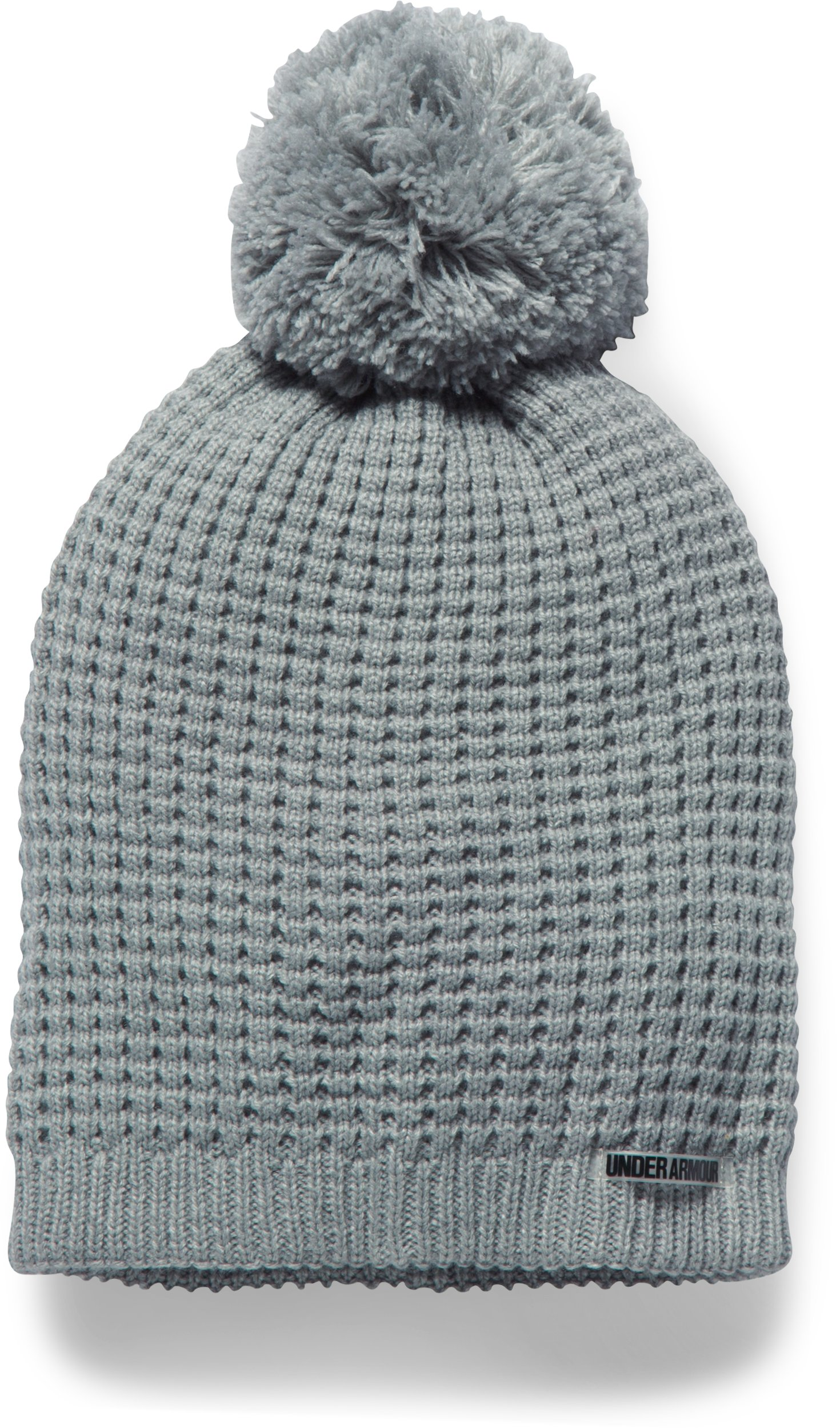 Women's UA Favorite Waffle Pom Beanie, True Gray Heather,