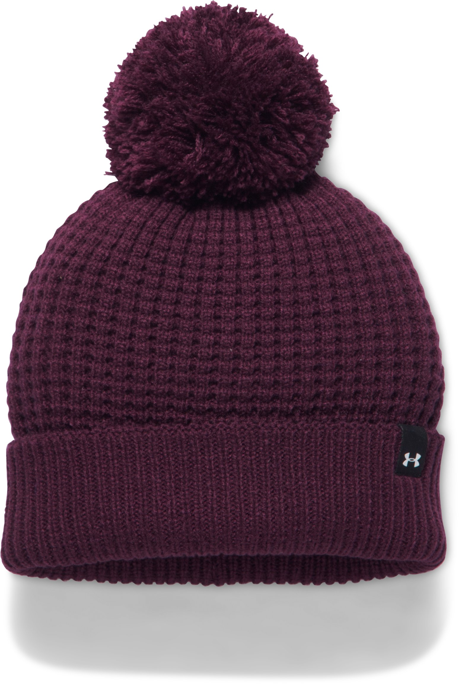 Women's UA Favorite Waffle Pom Beanie, RAISIN RED