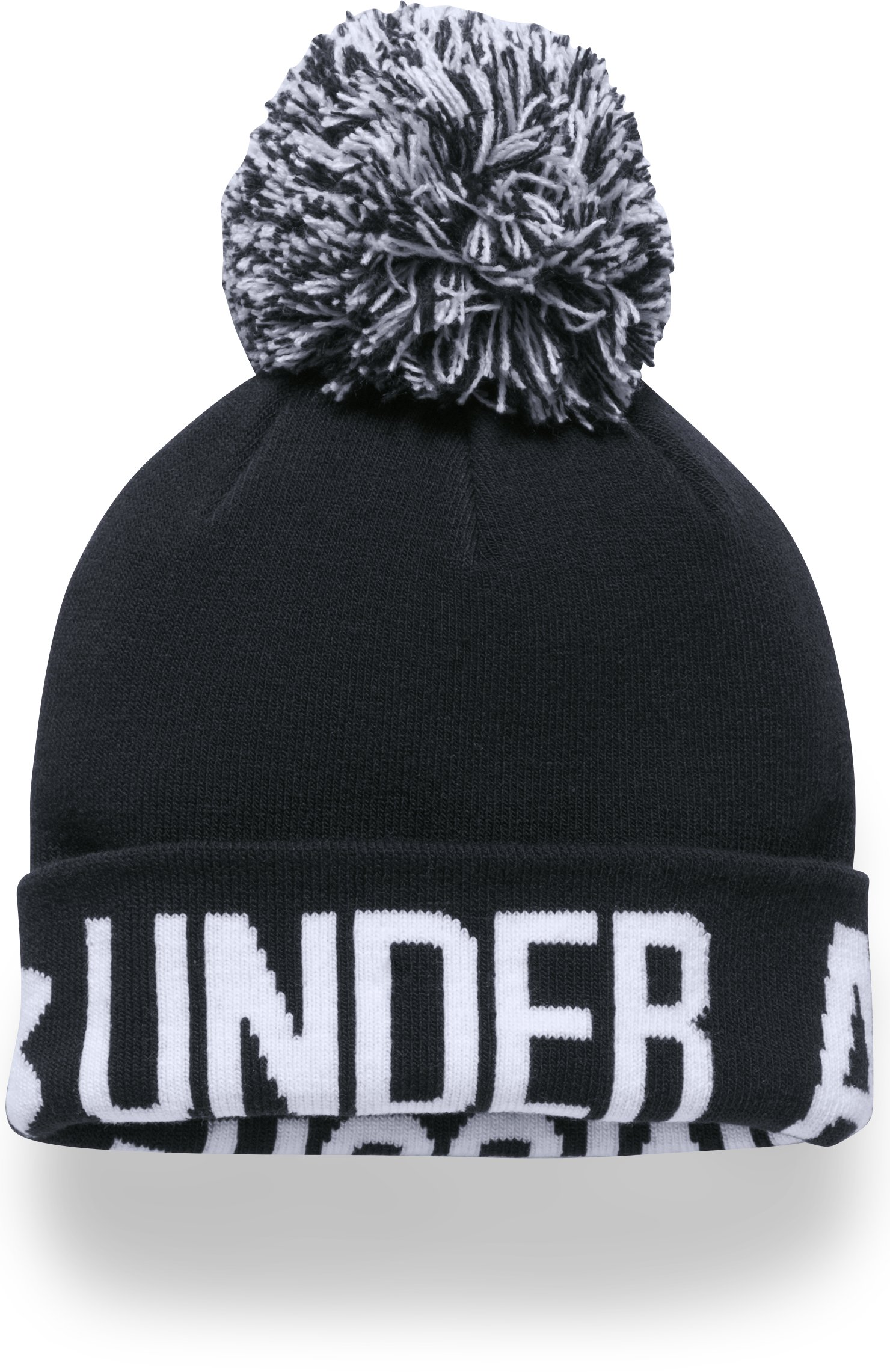 Women's UA Graphic Pom Beanie, Black ,