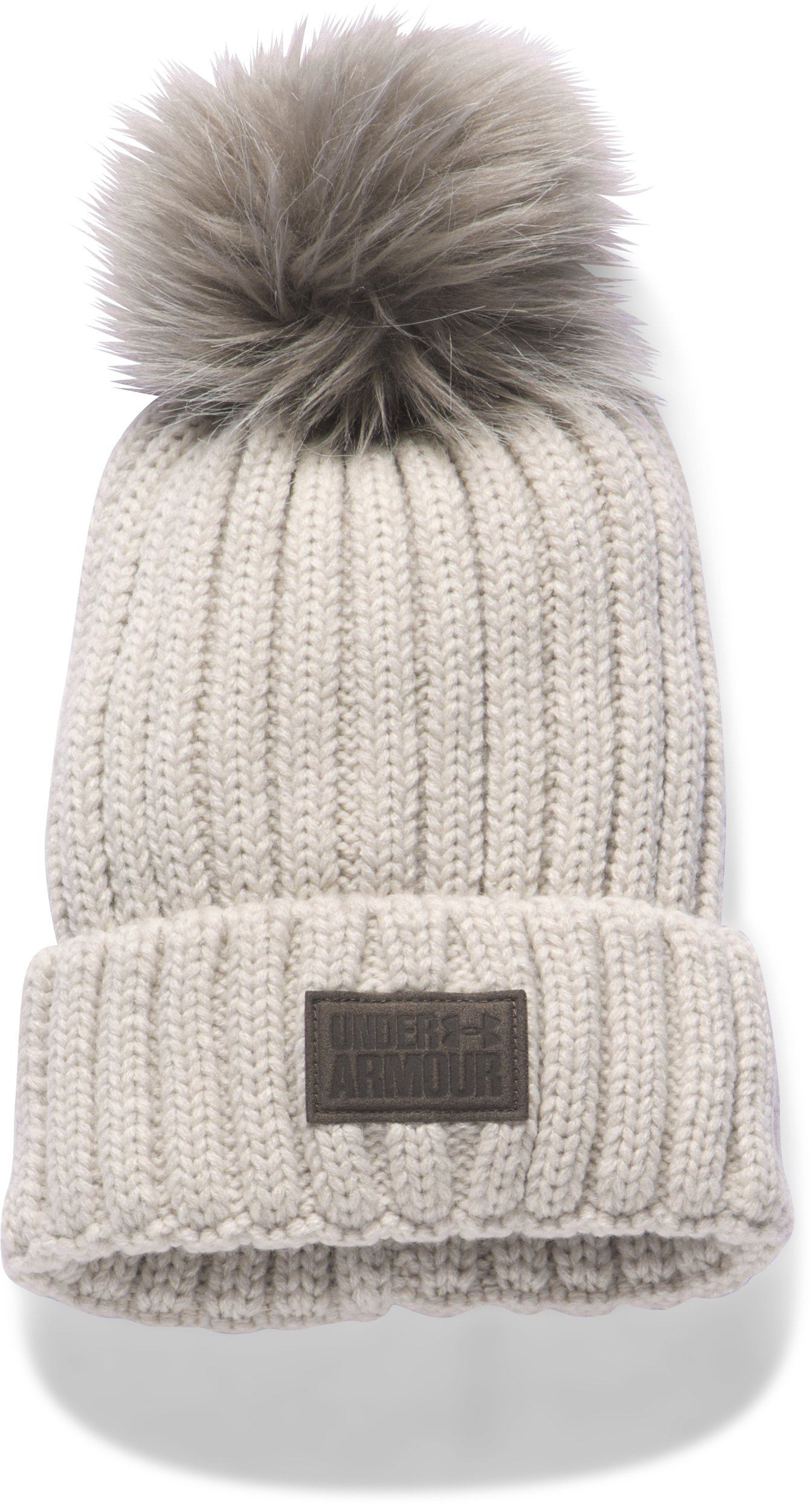 Women's UA Snowcrest Pom Beanie, LIGHT CREAM HEATHER, undefined