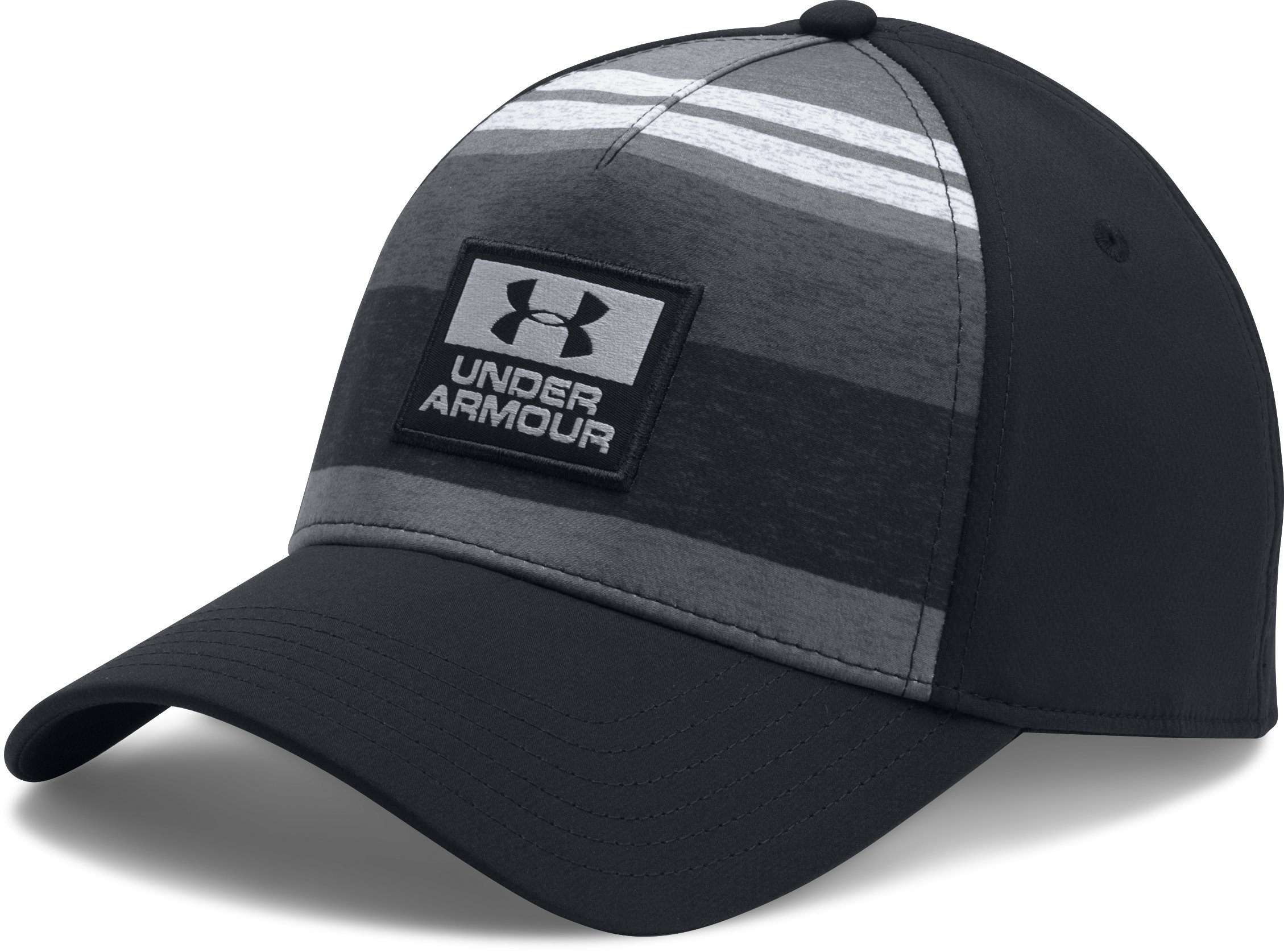 Men's UA Curved 5 Panel Stretch Cap, Black