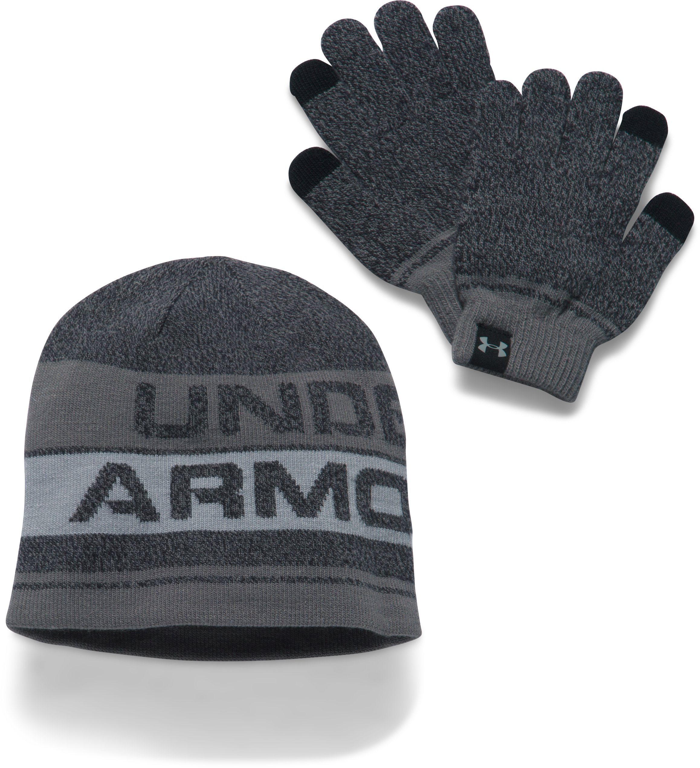 Kids' UA Beanie & Glove Combo Set 2.0, Black , undefined