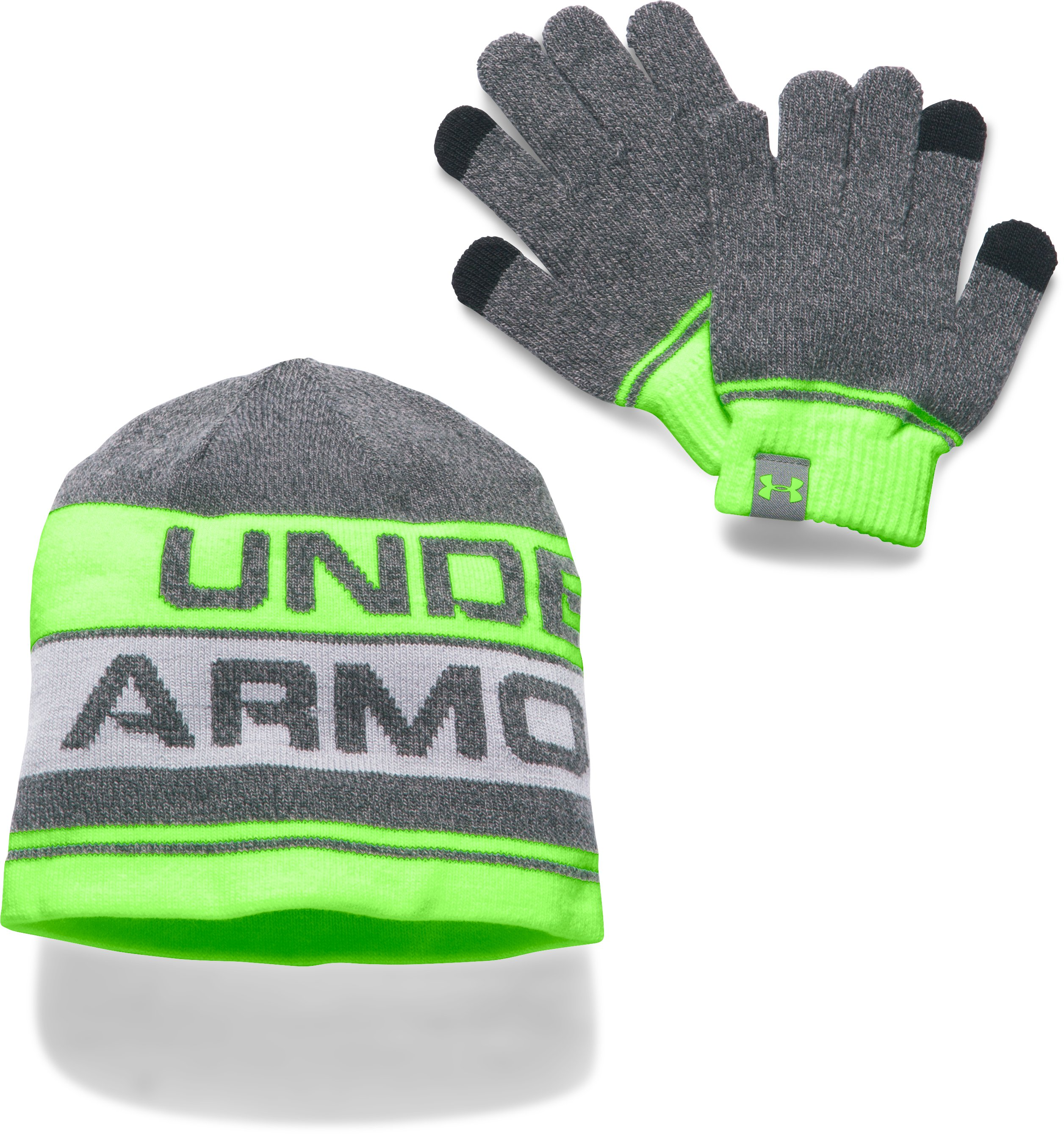 Kids' UA Beanie & Glove Combo Set 2.0, ANTHRACITE