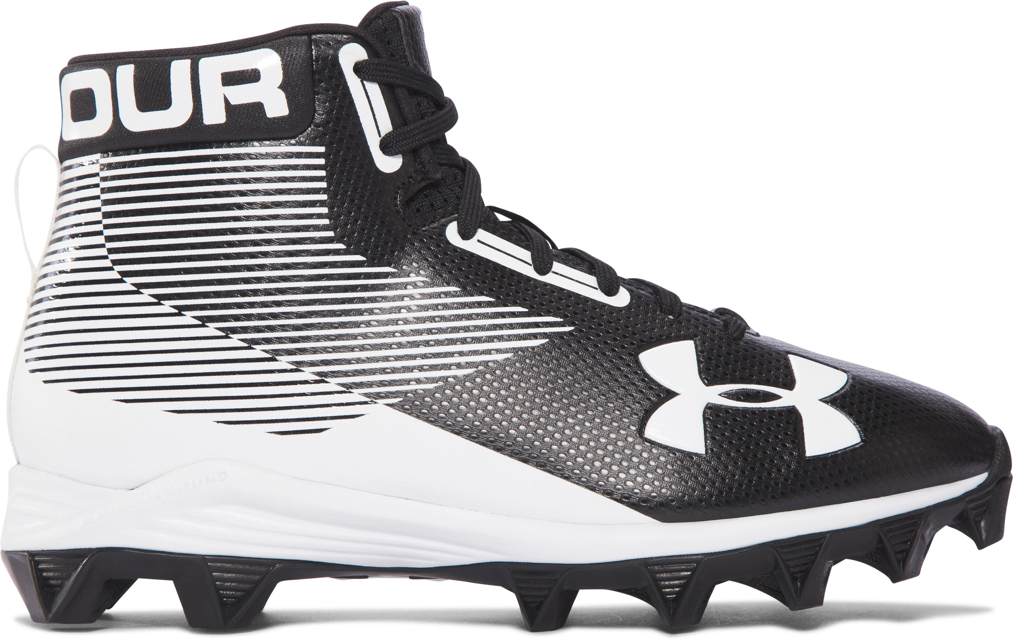 Boys' UA Hammer Mid Jr. Rubber Molded — Wide Football Cleats, Black