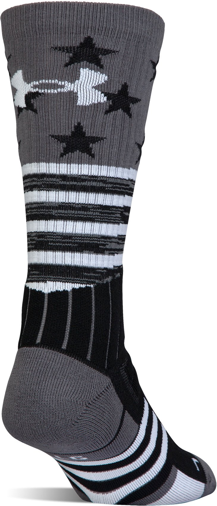 UA Unrivaled Stars & Stripes Crew Socks, Black , undefined