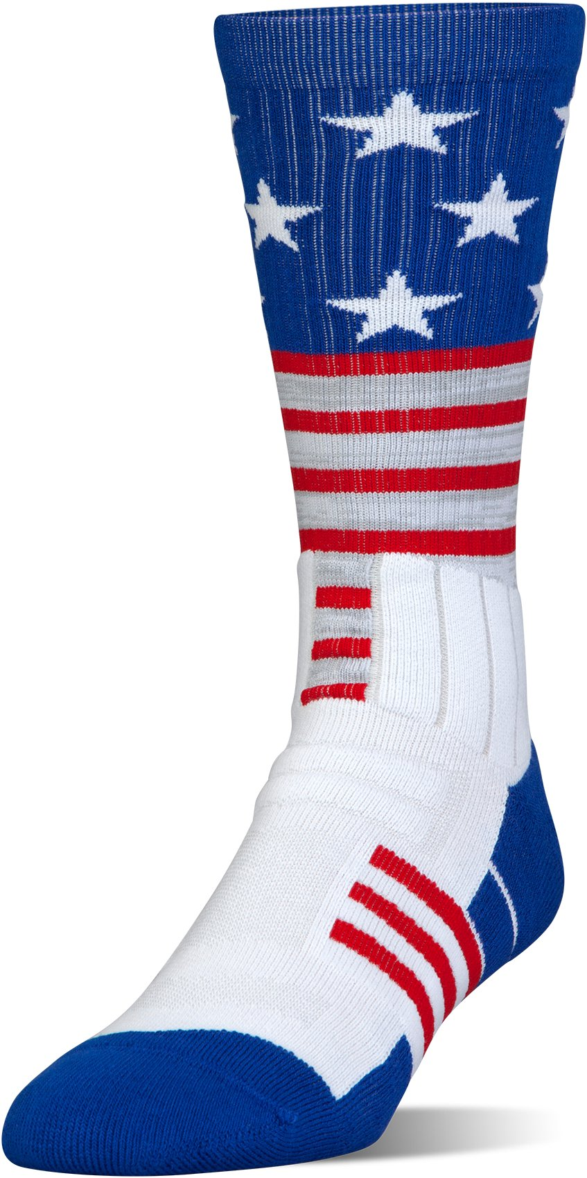 UA Unrivaled Stars & Stripes Crew Socks, White,