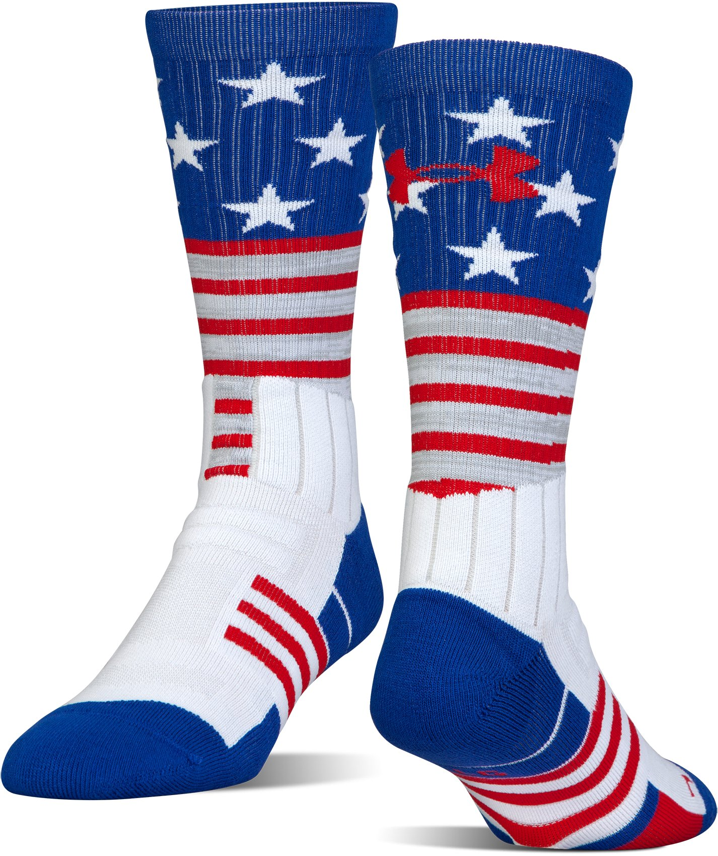 UA Unrivaled Stars & Stripes Crew Socks, White