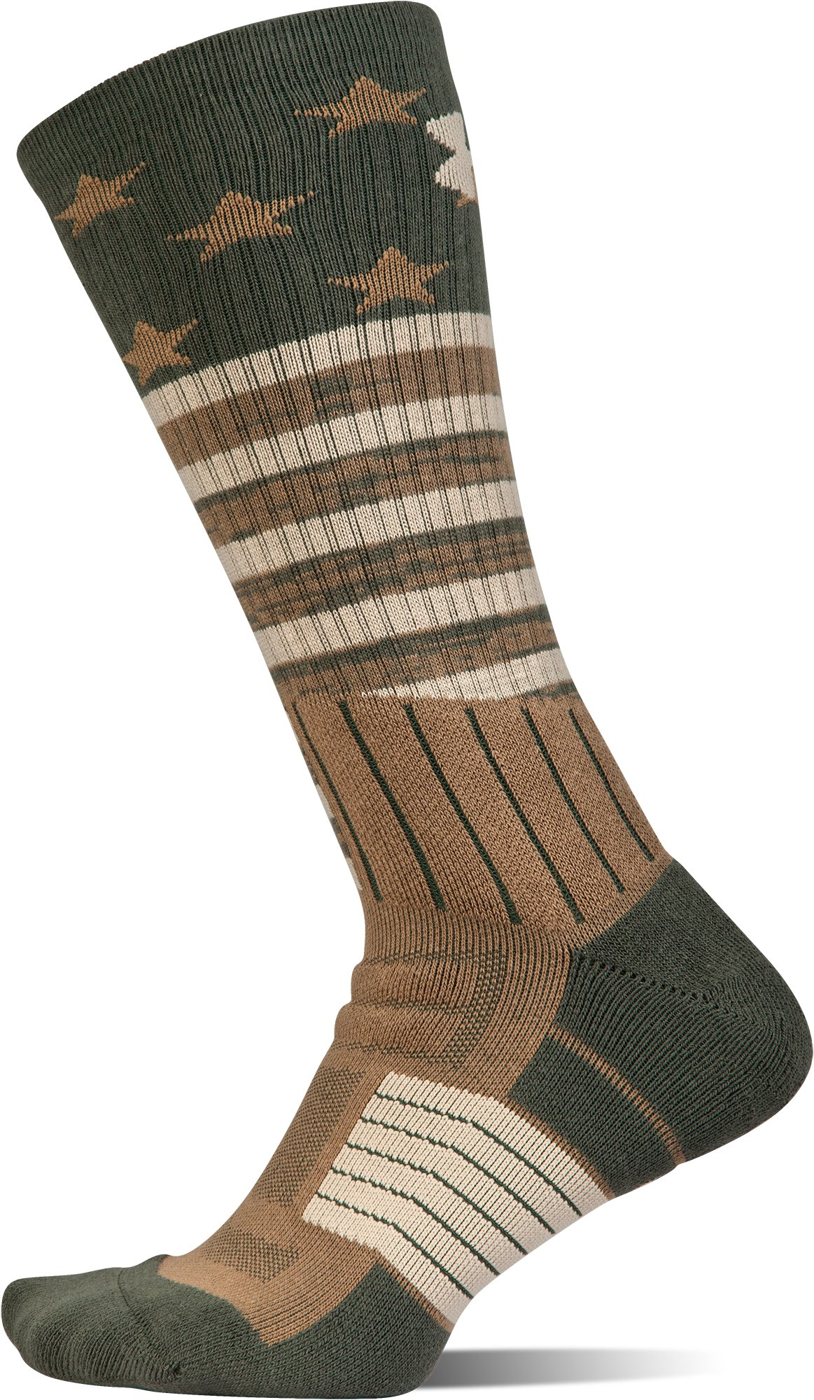 UA Unrivaled Stars & Stripes Crew Socks, COMBAT GREEN,