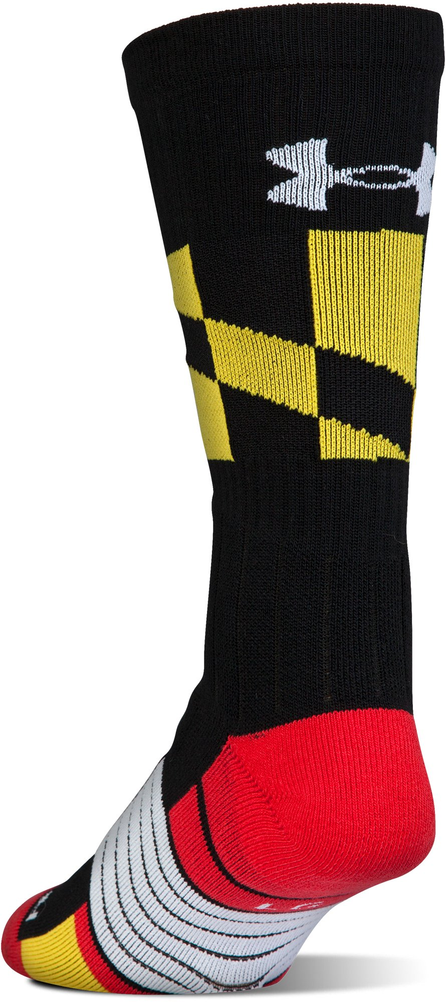 UA Unrivaled Maryland Crew Socks, Black