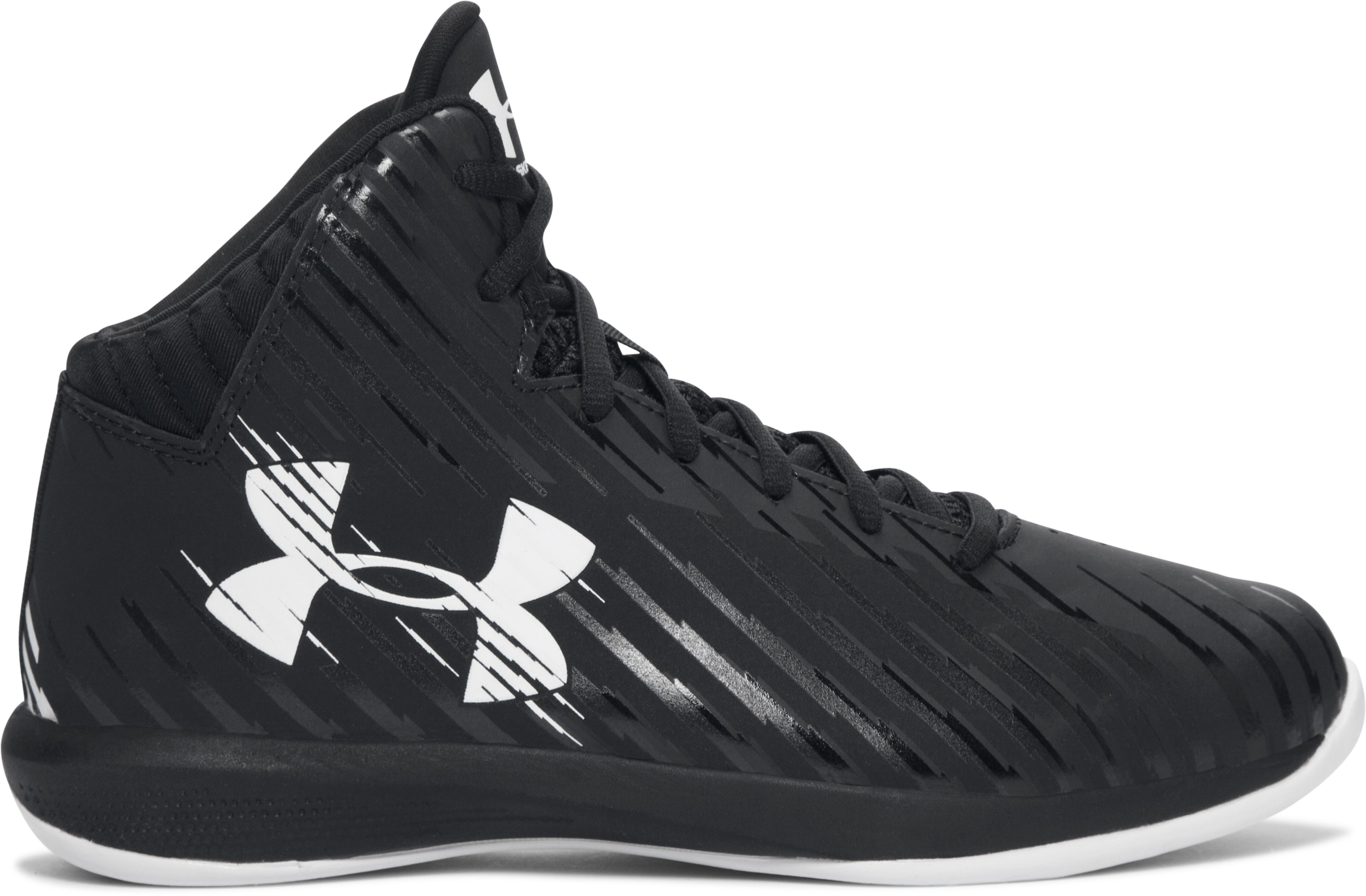 Boys' Grade School UA Jet Mid Basketball Shoes, Black