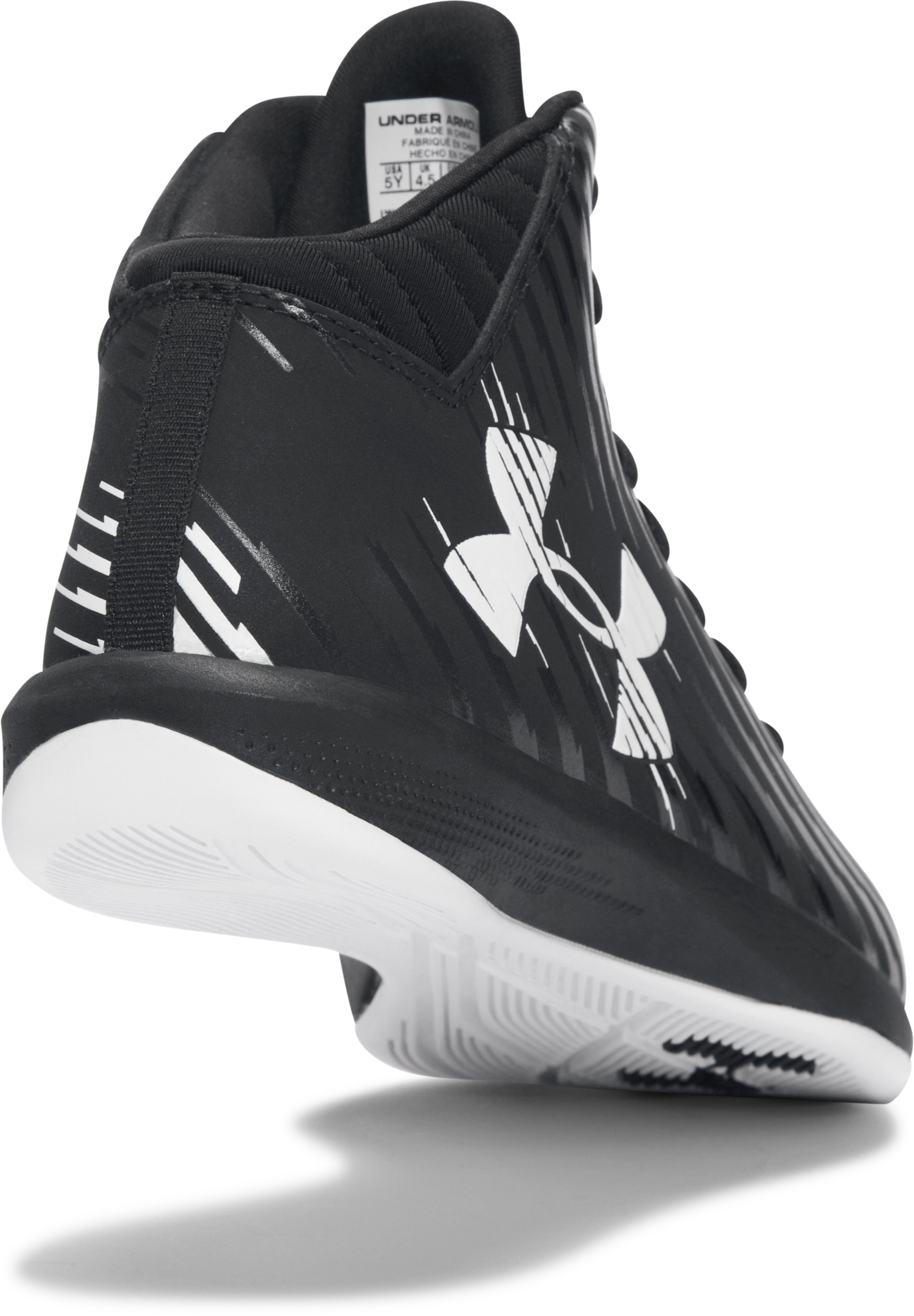 Boys' Grade School UA Jet Mid Basketball Shoes, Black , undefined