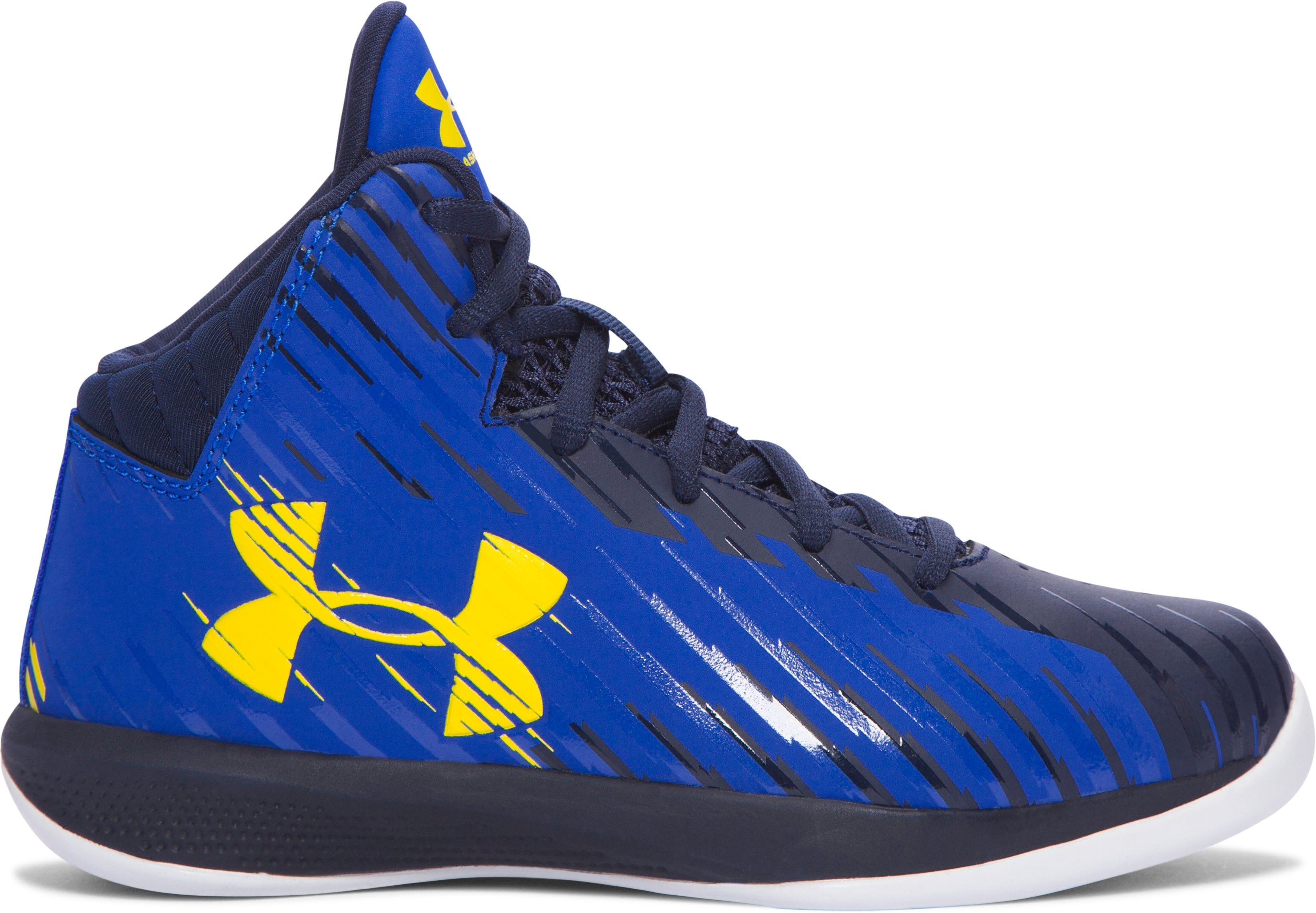 Boys' Pre-School UA Jet Mid Basketball Shoes, TEAM ROYAL