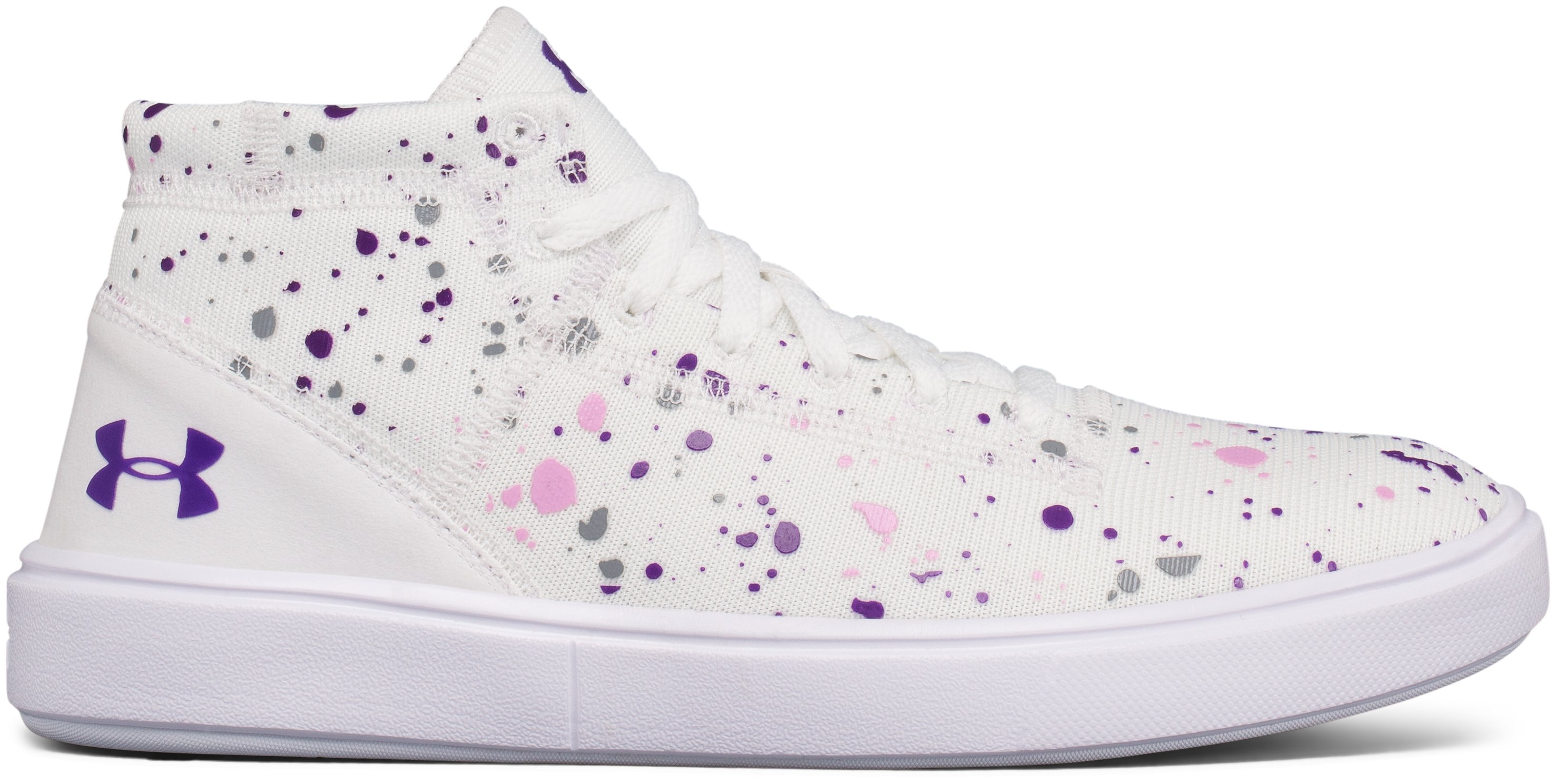 Girls' Grade School UA KickIt2 Splatter Mid Lifestyle Shoes, White