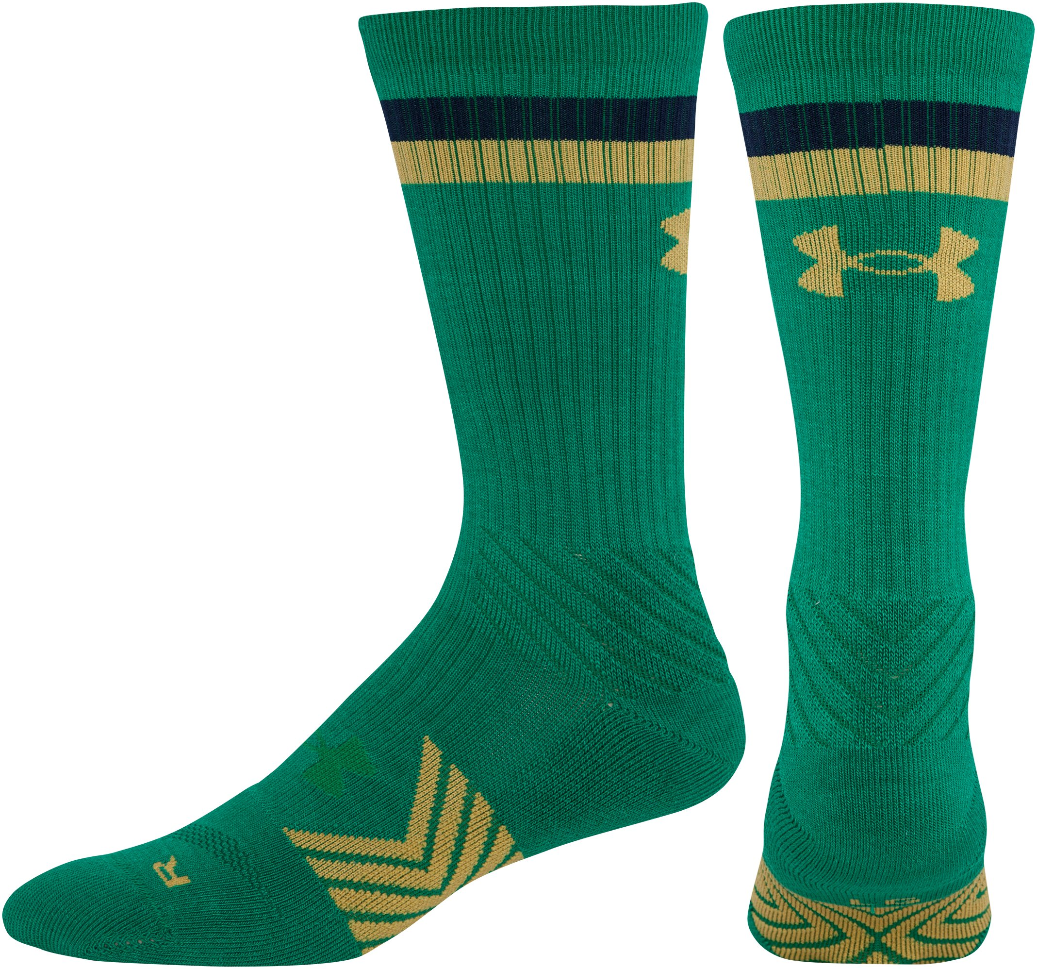 Men's Notre Dame Crew Sock, Kelly Green, undefined