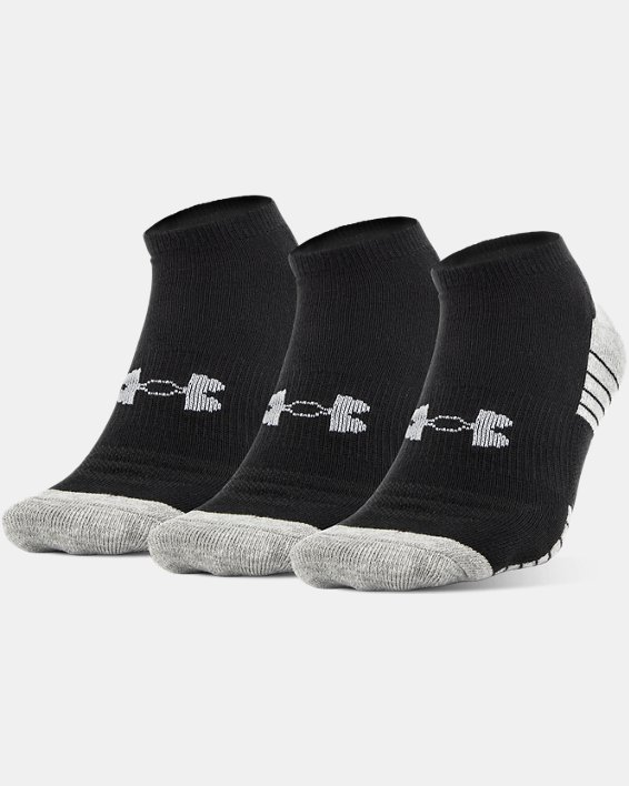 Boys' UA HeatGear® Tech No Show Socks 3-Pack, Black, pdpMainDesktop image number 0