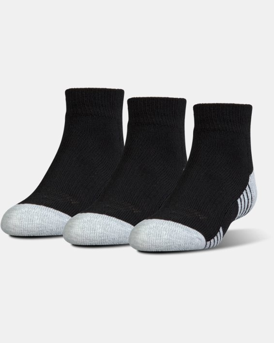 Kids' UA HeatGear® Tech Lo Cut Socks 3-Pack, Black, pdpMainDesktop image number 0