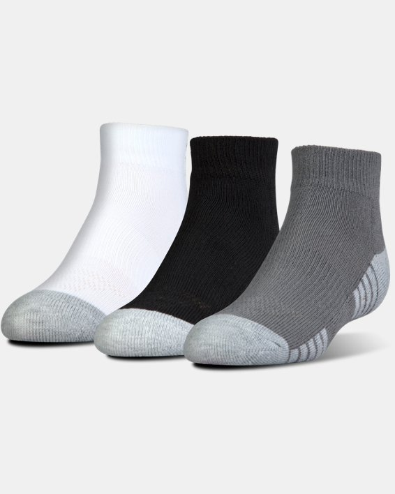 Kids' UA HeatGear® Tech Lo Cut Socks 3-Pack, Gray, pdpMainDesktop image number 0