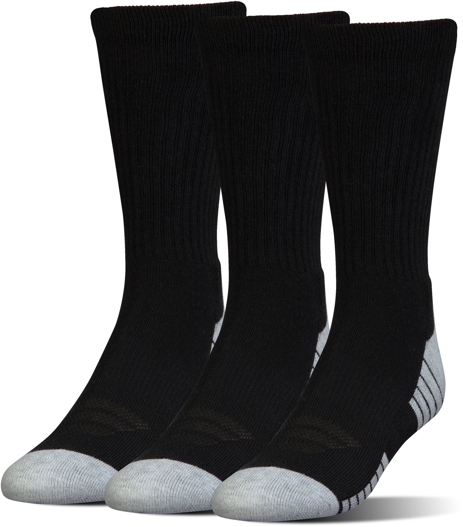 Kids' UA HeatGear® Tech Crew Socks – 3-Pack, Black ,