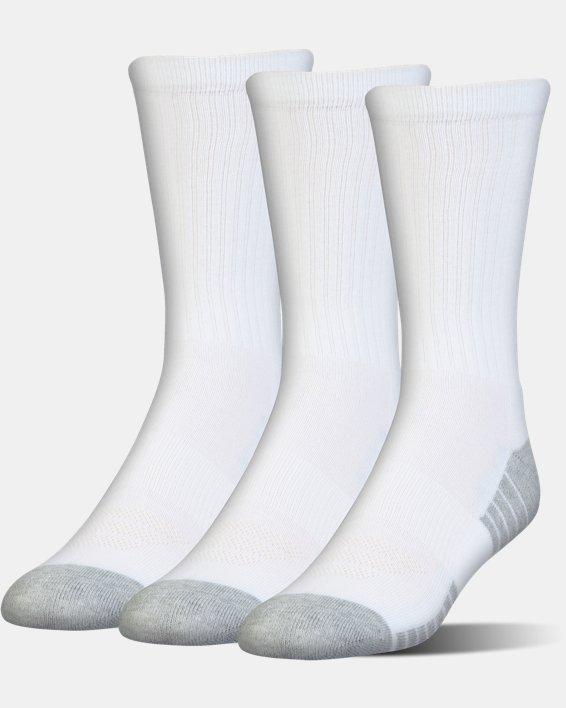 Kids' UA HeatGear® Tech Crew Socks - 3-Pack, White, pdpMainDesktop image number 0
