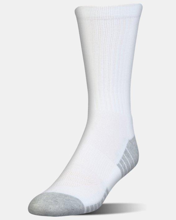 Kids' UA HeatGear® Tech Crew Socks - 3-Pack, White, pdpMainDesktop image number 1