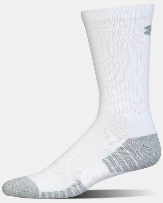Kids' UA HeatGear® Tech Crew Socks - 3-Pack, White, pdpMainDesktop image number 4