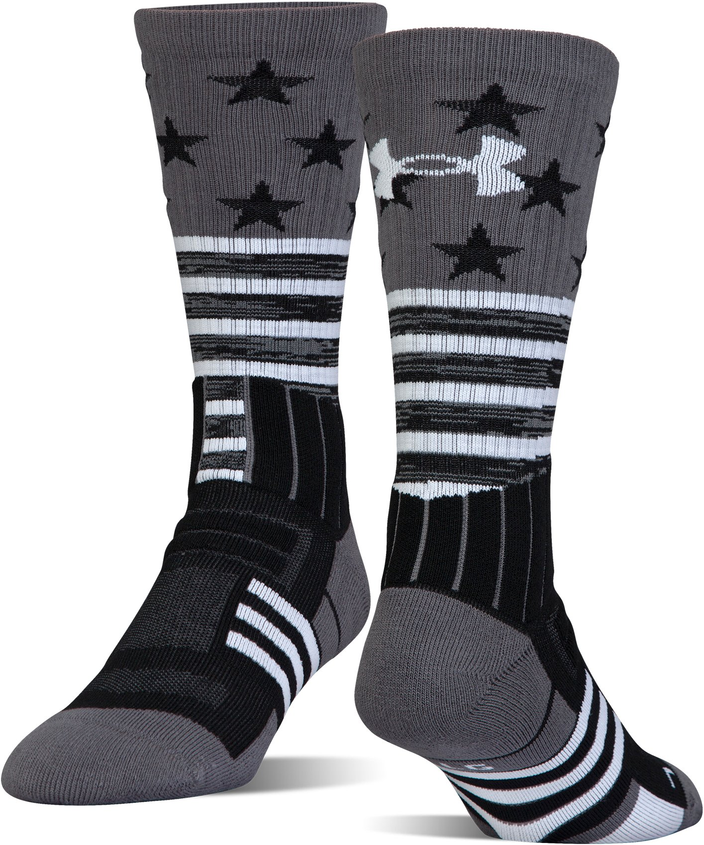Kids' UA Unrivaled Stars & Stripes Crew Socks, Black ,