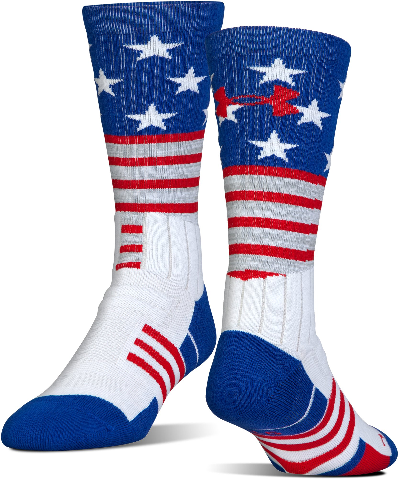 Kids' UA Unrivaled Stars & Stripes Crew Socks, White,