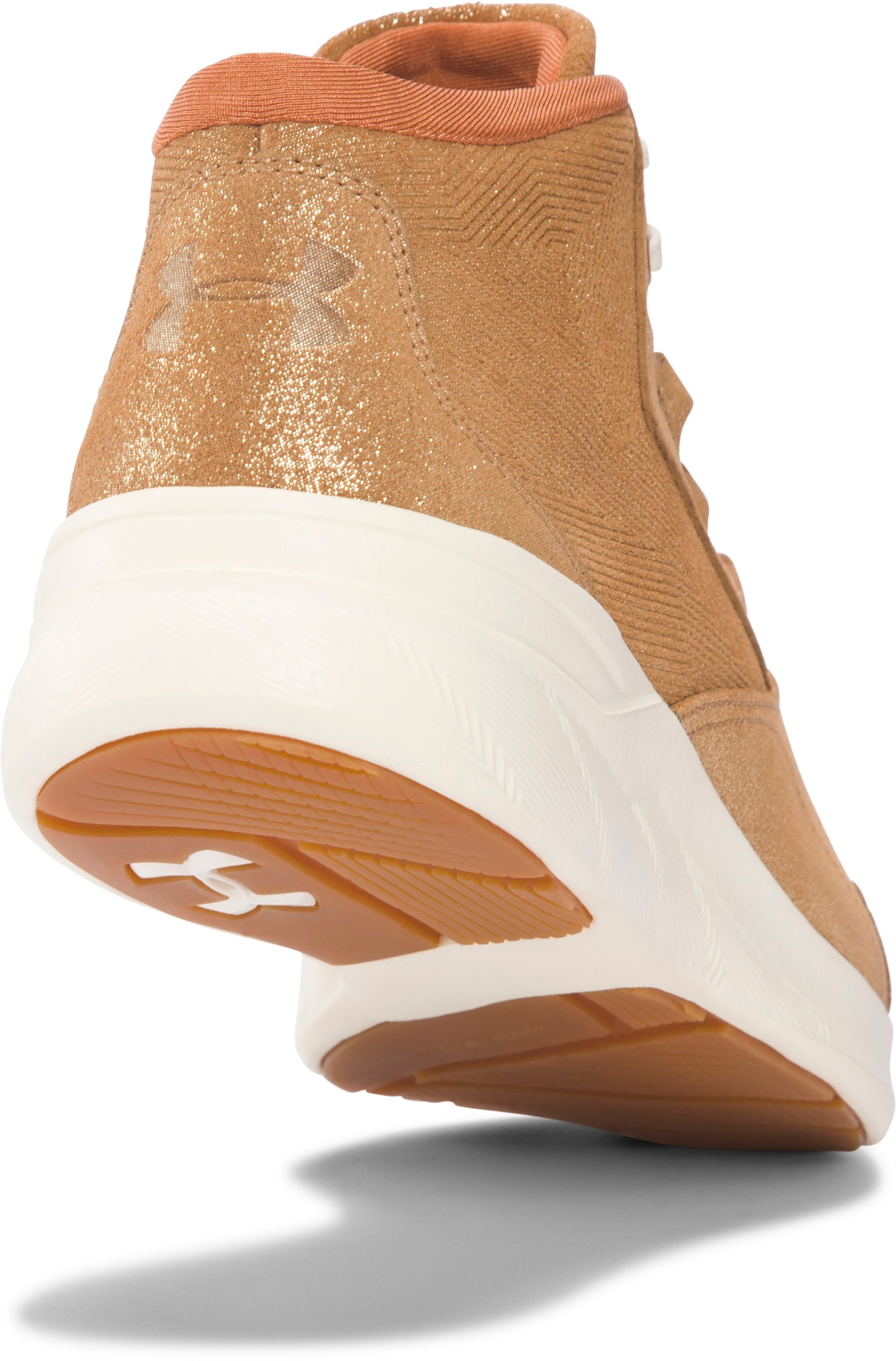 Women's UA Charged Pivot Mid Metallic Training Shoes, METALLIC BRONZE,