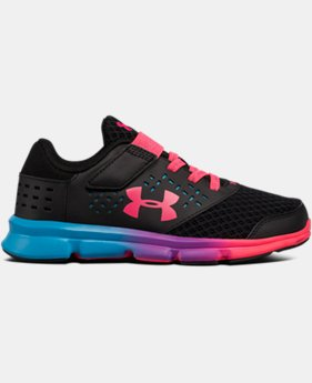 New Arrival Girls' Pre-School UA Rave Prism Adjustable Closure Running Shoes  1 Color $47.99