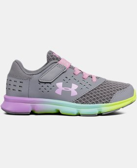 Girls' Pre-School UA Rave Prism Adjustable Closure Running Shoes LIMITED TIME OFFER 1 Color $35.99