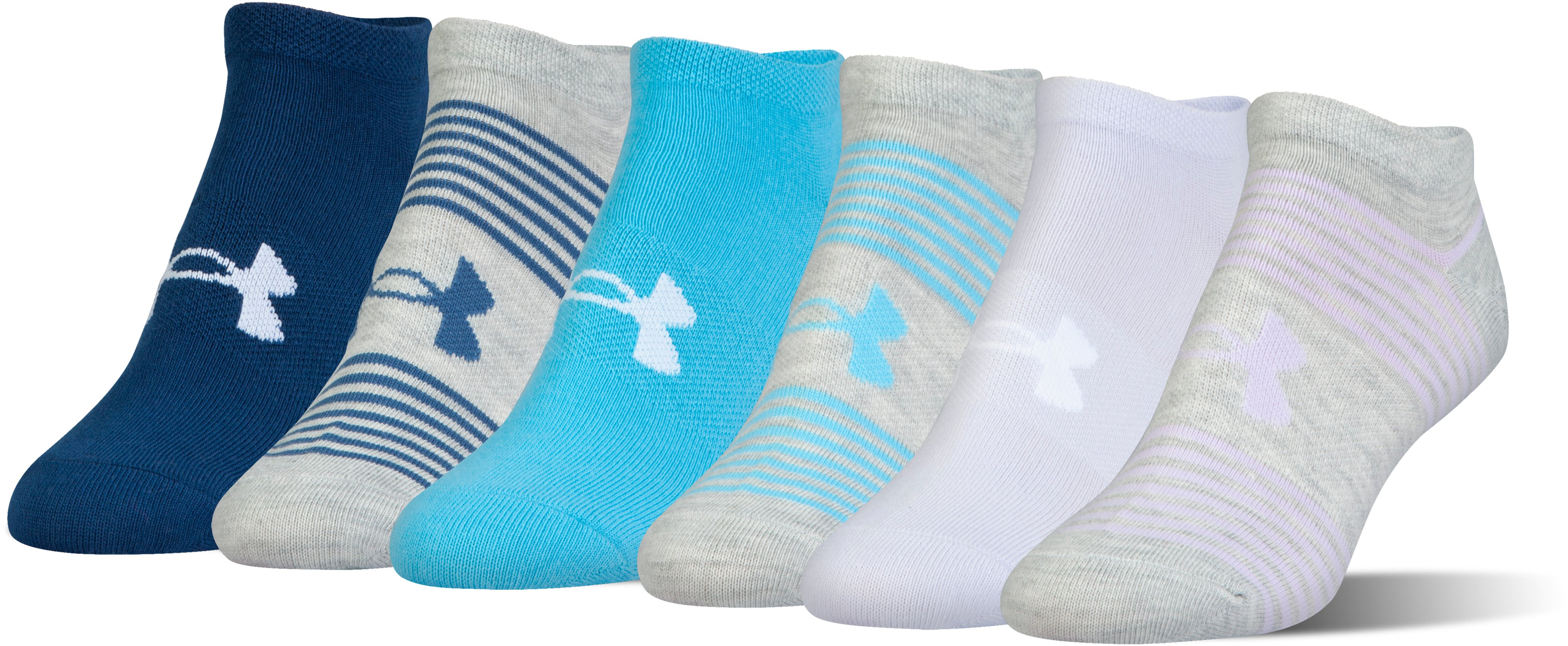 Women's UA Essential Mix 2.0 No Show Socks – 6-Pack, LAVENDER ICE