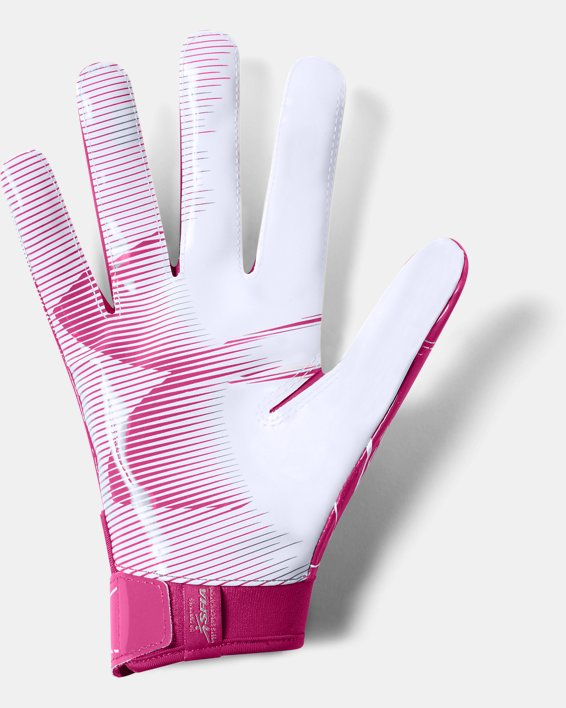 Men's UA F6 Football Gloves, Pink, pdpMainDesktop image number 1