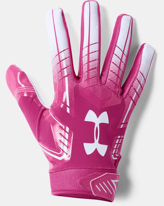 Men's UA F6 Football Gloves, Pink, pdpMainDesktop image number 0